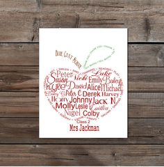 Teacher Appreciation gift: Personalised with students and teacher names  Apple word art DIY printable retirement present long service
