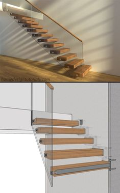 3D Model & manufacturing drawings available for purchase. To learn more, visit homedesigntutorials.com #design #construction #architecture #floating #stairs #staircase #cantilevered #drawing #detail