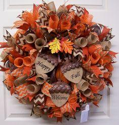 The Chic Technique: Fall Mesh Wreath,Fall Burlap Wreath,Fall Door Wreath,Happy Fall Wreath,Welcome. Fall Mesh Wreaths, Fall Deco Mesh, Autumn Wreaths, Deco Mesh Wreaths, Holiday Wreaths, Wreath Fall, Burlap Wreaths, Acorn Wreath, Ribbon Wreaths