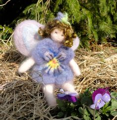 Needle Felted Pansy Flower Fairy.
