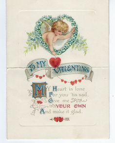 Vintage Valentine - Card Folds Into Envelope - To My Valentine - Made in Germany - Valentine's Day Greeting - Happy Mail - Cherub and Hearts - Vintage Valentine – Card Folds Into Envelope – To My Valentine – Made in Germany – Valentin - Valentines Day Cards Diy, Valentines Day Couple, Valentines Day Greetings, Vintage Valentine Cards, Happy Valentines Day, Cards For Boyfriend, Sewing Material, Hanging Hearts, Cards For Friends