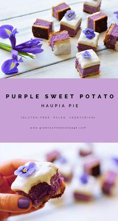 A Paleo take on the classic Hawaiian Purple Sweet Potato Haupia Pie – a macadamia shortbread crust, silky purple sweet potato filling, and a creamy, light haupia topping. Hawaiian Desserts, Köstliche Desserts, Asian Desserts, Gluten Free Desserts, Healthy Desserts, Delicious Desserts, Hawaiian Recipes, Vegan Sweets, Paleo Dessert