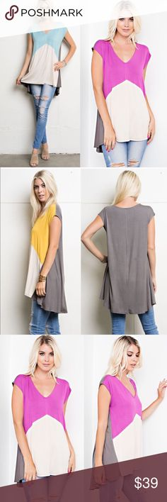 EVERLY color block tunic top - MAGENTA Color block, v-neck, sleeveless top that is soft, comfortable, easy to pullover and was made with a rayon spandex.  Fabric 95% Rayon 5% Spandex Made in U.S.A Bellanblue Tops Blouses
