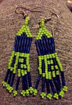 12th Man Seahawks Dangle Earrings by BeadsForFaith on Etsy