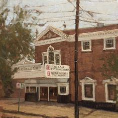 """Westhampton Movie Theatre"" by Beth Marchant Oil (Plein Air) Movie Theater, Theatre, Gone With The Wind, Cabin, Paintings, Oil, House Styles, Home Decor, Cinema"