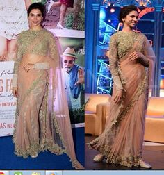Sangeet one of the most important rituals in Hindu's wedding. Try this nude color saree wore by Deepika. Nude saree with full sleeves floral blouse. Awesome combination.   Try it once. Simplicity is the best way to grab the attention.