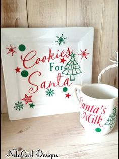 Christmas traditions are so important, especially with your children. This adorable plate and mug set for Santa is a perfect way to start a fun family tradition of leaving cookies and milk. The White glazed ceramic plate measures 8 x 8 inches square. I decorate the plate as shown with red and green snowflakes, polka dots and a tree with the phrase Cookies for Santa. The fun part is that I can add your childs name(s) and a date to make it extra special. This is a great gift for new parents…