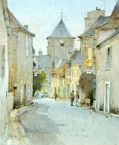۩۩ Painting the Town ۩۩ city, town, village & house art - David Howell Watercolor City, Watercolor Sketch, Watercolor Landscape, Landscape Paintings, Watercolor Paintings, Watercolors, Watercolor Architecture, Urban Architecture, Urban Sketching
