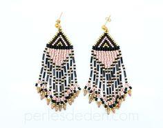 Boucles d'oreilles Huichol navajo en perles de rocailles : Boucles d'oreille par perlesdeden
