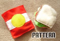 Hand sewn, felt food pattern - sandwich and a bag of chips. Adorable for kids!