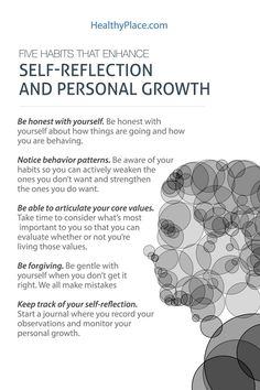 """Self-reflection is a powerful tool for personal growth. It isn't hard when you follow these five tips on self-reflection to attain personal growth. Read this."" www.HealthyPlace.com"