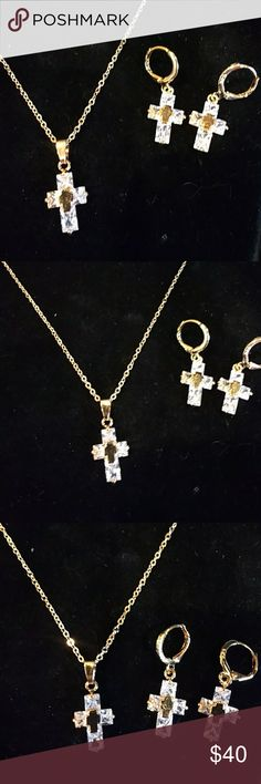 4ctw AAA Princess Cut Crystal 10k gold Necklace 10K over Sterling Silver Stamped 18 in chain. Necklace and Earring Set. Adoration Precious Jewelry Jewelry Necklaces