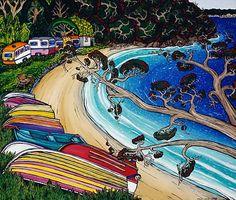 A bit of Kiwiana. In the Shade by Fiona Whyte for Sale - New Zealand Art Prints. New Zealand Beach, New Zealand Art, Maori Symbols, New Zealand Landscape, Nz Art, Kiwiana, Beach Images, Whimsical Art, Beach Art