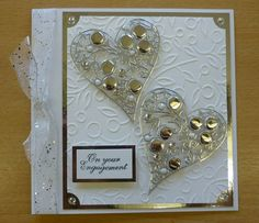 Woodware bubble heart peel offs, embossed card, sentiment, ribbon