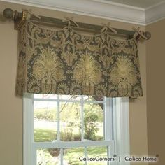 Scallop Tie Top Valance in Dianna/Pewter
