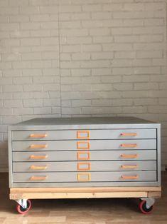 Flat File Cabinet, Filing Cabinet, Deco Furniture, Furniture Design, Flat Files, Guest Room Office, Art Storage, Industrial Living, Interior Design Studio