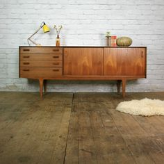Mid Century E-Gomme G-Plan Teak Sideboard Media Cabinet - Mustard Vintage Vintage Furniture, Home Furniture, Furniture Design, Furniture Ideas, Mid Century Desk, Mid Century House, Mid Century Sideboard, Teak Sideboard, Diy Home