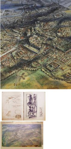 aerial view of Imperial Rome by Alan Sorrell from The Life and Works of an English Neo-Romantic Artist Romanticism Artists, Roman Britain, Aerial View, Languages, Middle School, Rome, City Photo, Vintage World Maps, It Works