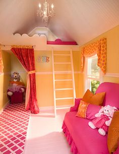 Child's playhouse is equipped with runway, changing room with storage, and plenty of seats to watch the show! Photo by Rosh Sillars. Ellwood Interiors.
