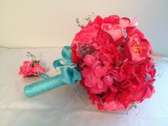 Coral and teal weddings | Wedding Bouquet in Coral and Teal | LCFloral - Wedding on ArtFire