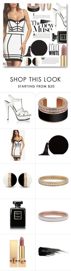 """""""Hold up, they don't love you like I love you"""" by sunshineb ❤ liked on Polyvore featuring Yves Saint Laurent, MANGO, Chanel, Urban Decay, dress, blackandwhite and romwe"""