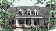 <ul><li>The columned front porch of this traditional design leads directly to a good-sized great room via a door bordered by sidelights. Forming one large space with the bayed breakfast area and the efficient kitchen, the great room provides a wonderful gathering space for family and friends. </li><li>Notice the fireplace in the great room, the door to the covered back porch and the angled snack bar that separates the kitchen from the rest of the space. Easy access is found from the kitchen…