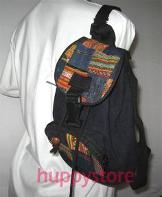 HAND WOVEN HEMP FABRIC BACKPACK BAG TOTE TRENDY FASHION HIP    DECORATED WITH ETHNIC DESIGN EMBROIDERY PATCH THAILAND.  This backpack bag was made of hand woven hemp fabric. There is one large main pouch with zippered patch pocket in front of it. The bag was decorated with 2 embroidery patches which were hill tribe works, one on the flap cover and one on the patch pocket.  $46.90 FREE SHIPPING