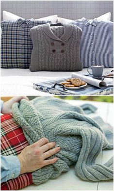 You will love this Sweater Pillows DIY and it only takes 30 minutes to whip them up. Watch the video tutorial too for quick and easy instructions. Sweater Pillow, Old Sweater, Knit Pillow, Sweaters, Craft Videos, Diy Videos, Pullover Upcycling, Knitting Needle Storage, Alter Pullover