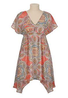 Scarf print kabuki dress