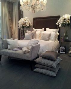 Gray and Brown Bedroom. Gray and Brown Bedroom. Packed with Style This Modern Gray and Brown Bedroom Brown Master Bedroom, Dream Master Bedroom, Romantic Master Bedroom, Master Bedroom Interior, Modern Bedroom Furniture, Beautiful Bedrooms, Home Interior, Home Bedroom, Interior Design