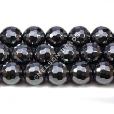 Hematite 10mm Faceted Beads