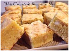 White Chocolate & Macadamia Slice Bellini Recipe, White Chocolate Macadamia, Cornbread, Cheesecake, Cooking, Ethnic Recipes, Food, Thermomix, Millet Bread