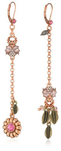 """Betsey Johnson """"Iconic Vintage Rose"""" Crystal Bug Mismatch Linear Drop Earrings"""