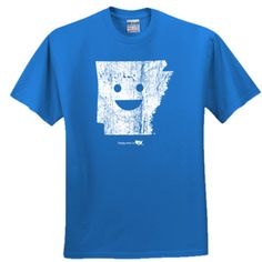 Arkansas Happy state Logo Shirt Screen printed in white on Blue shirt these are youth kids sizes Product Description 100% cotton preshrunk jersey     all logos and characters property of Happy State co and may not be used without permission.