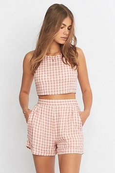 Urban Renewal Vintage Remnants Pink Gingham Co-Ord Top - Urban Outfitters