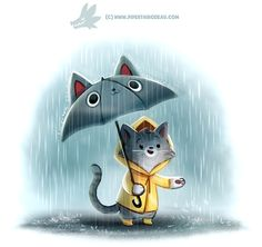 Daily Paint Downpurr by Cryptid-Creations Time-lapse, high-res and WIP… rain umbrella ☔️ Cute Animal Drawings, Kawaii Drawings, Cartoon Drawings, Cute Drawings, Cute Creatures, Mythical Creatures, I Love Cats, Cute Cats, Animal Puns