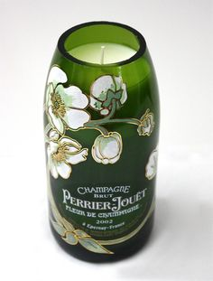 candle made from a Perrier-Jouet Fleur De Champagne bottle