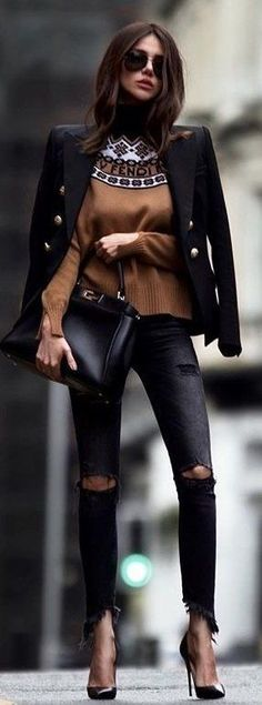 #winter #outfits black distressed jeans; black leather pointed stilettos