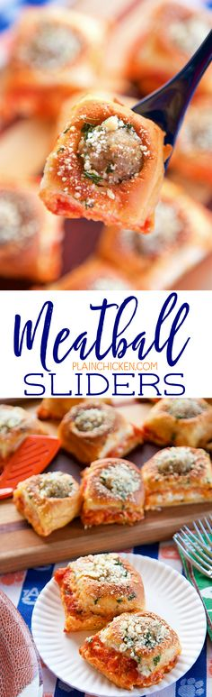 Meatball Sliders - SO good! Perfect for parties and watching football! Hawaiian rolls stuffed with cream cheese, Italian seasoning, mozzarella cheese, marinara sauce, frozen meatballs and topped with melted butter and Parmesan cheese. Ready in under 30 Finger Food Appetizers, Finger Foods, Appetizer Recipes, Dessert Recipes, Lunch Recipes, Beef Recipes, Cooking Recipes, Recipies, Sandwich Recipes