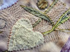 I ❤ embroidery . a fragment of embroidery ~By Jude Hill Art Fibres Textiles, Textile Fiber Art, Textile Artists, Sashiko Embroidery, Embroidery Applique, Embroidery Stitches, Fabric Art, Fabric Crafts, Art Du Fil