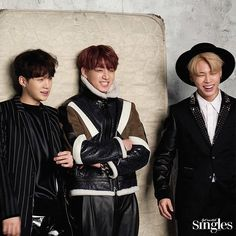 Suga, Jungkook and Jimin ❤ BTS for Singles Magazine January 2017 Issue Jimin Jungkook, Bts Bangtan Boy, Taehyung, Namjoon, Jikook, Bts Singles, Bts Group Photos, Rap Lines, About Bts