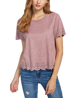 76f57aae03 SheIn Women's Summer Round Neck Short Sleeve Scallop Suede Top Blouse