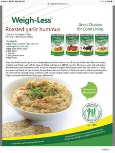 Healthy Eating Recipes, Diet Recipes, Healthy Snacks, Cooking Recipes, Cooking Food, Easy Recipes, Roasted Garlic Hummus, Diabetic Menu, Family Meals