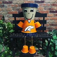 Excited to share this item from my shop: Denver Broncos Flower Pot People / football decor/ clay pot people/ Raiders Girls With Flowers, Types Of Flowers, Diy Flowers, Potted Flowers, Flowers Garden, Denver Broncos, Clay Pot Projects, Clay Pot Crafts, Diy Projects