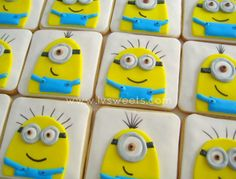 Minion cookies by L&V Sweets 3rd Birthday Cakes, Minion Birthday, Minion Party, Birthday Cookies, Minion Cookies, Brownie Cookies, Cake Cookies, Cookies For Kids, Cut Out Cookies