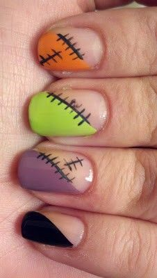Halloween Nail Art - Finger stitches #Halloween #nailart