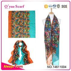 30D Chiffon Honeysuckle Printed Hot Scarf Dress Hijab Style