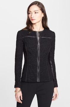 St. John Collection Plume Lace Jacket with Leather Trim available at #Nordstrom