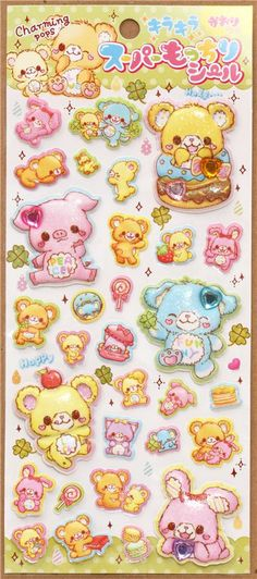 kawaii lucky animals with sweets puffy sponge stickers Japan 2