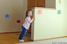 What a fun activity! Alphabet find is the perfect way to get kids moving & learning. It's a great indoor activity that toddlers & preschoolers will love!